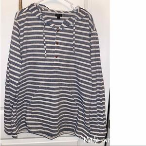J Crew Hooded Gray and White Shirt